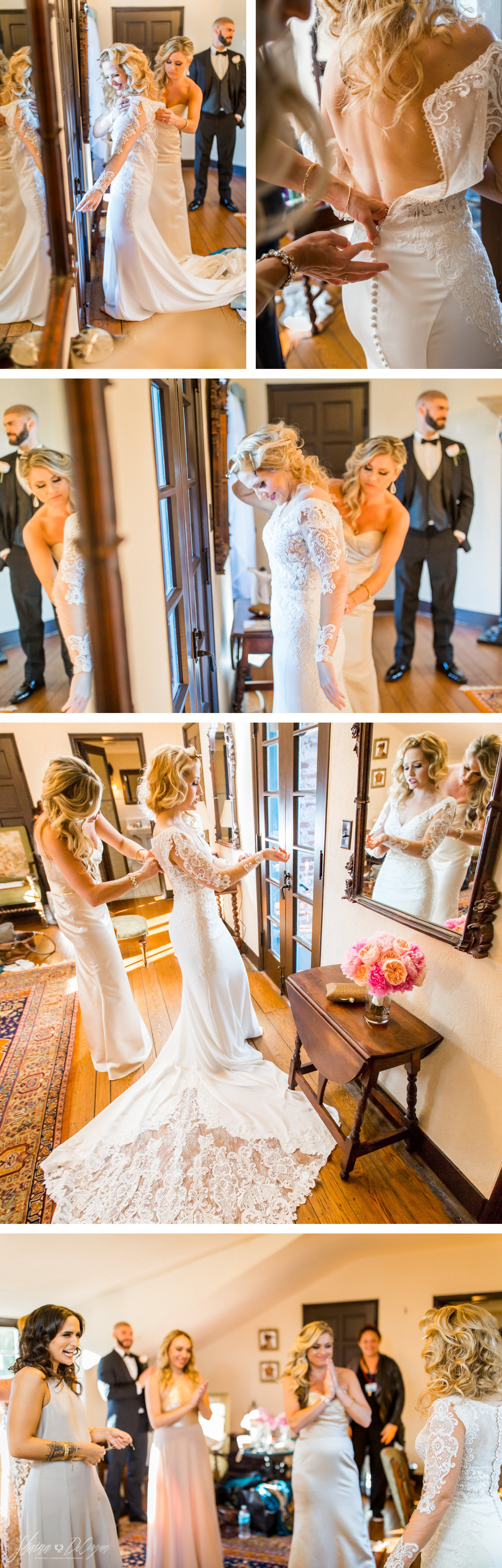 Essense of Australia Old Hollywood Glam wedding dress with floral lace sleeves and train details