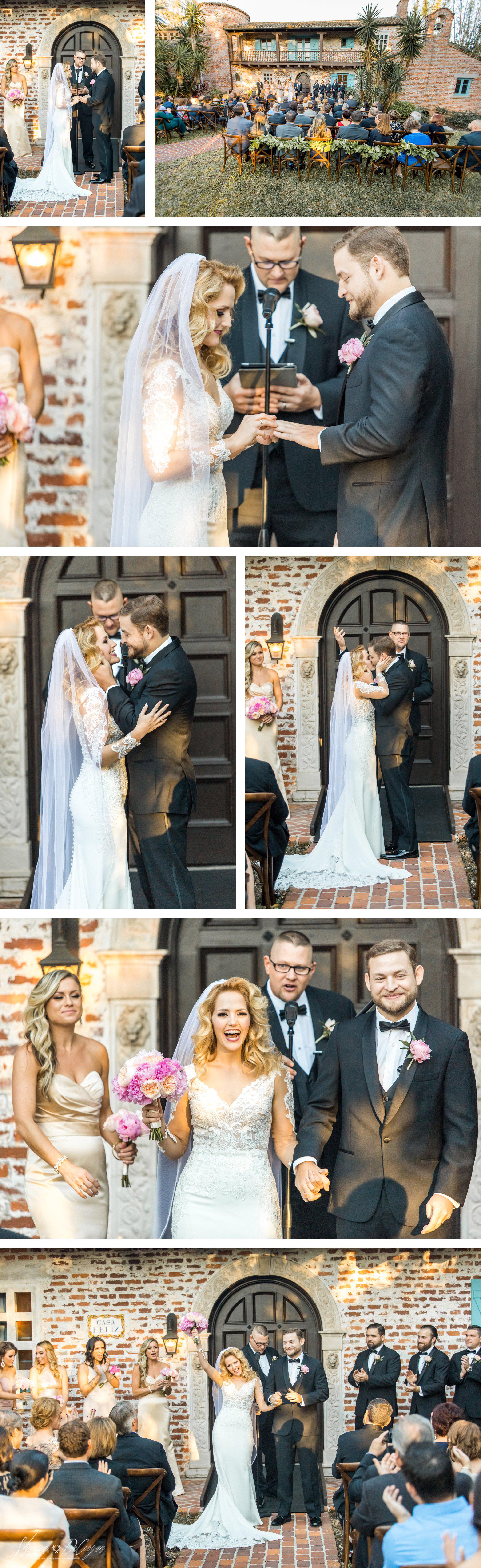 Retro Hollywood Glam Casa Feliz Wedding ceremony ring exchange
