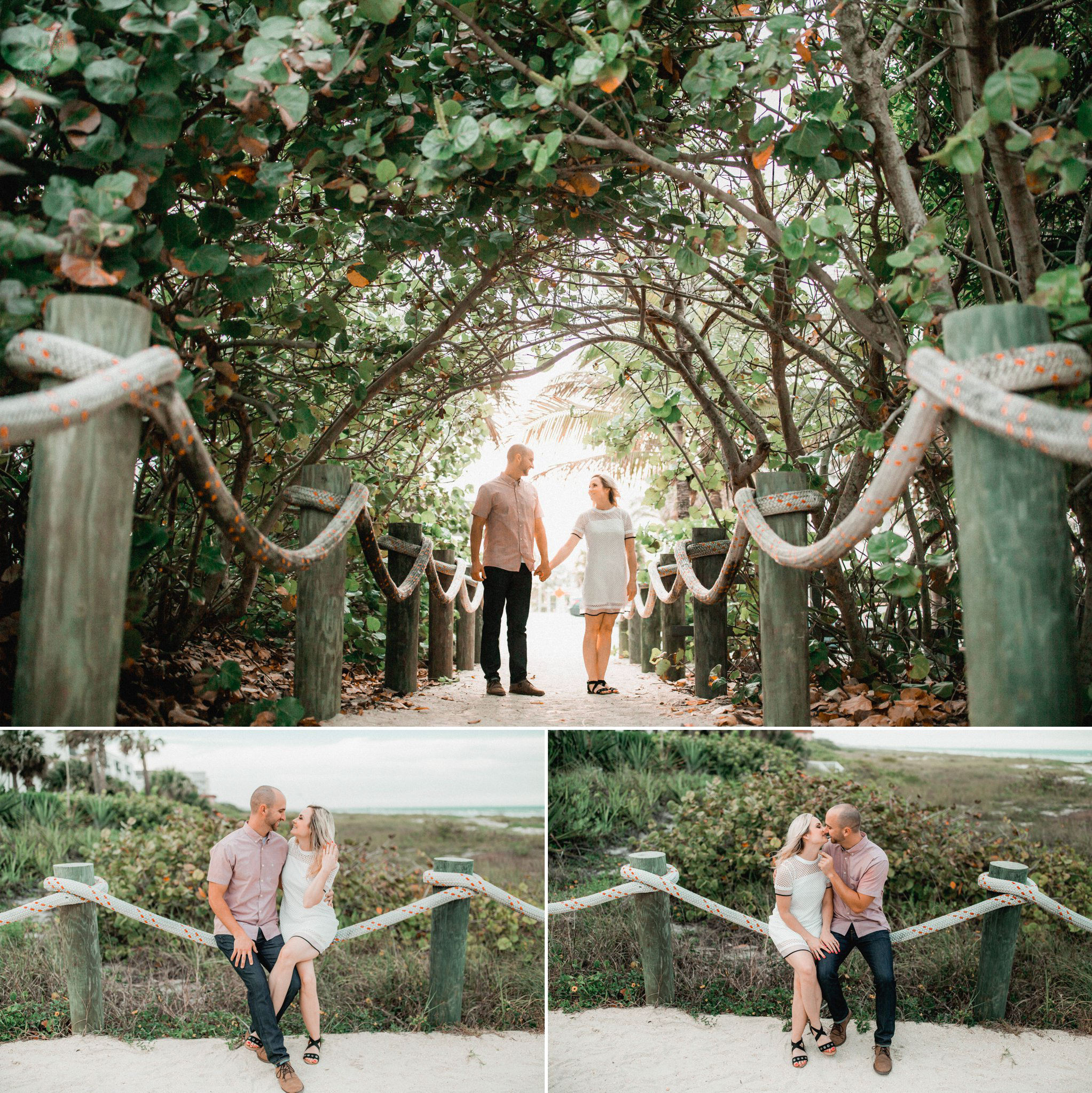 Tommy + Courtney's Cocoa Beach engagement || Casual boho surf style engagement outfit inspiration - she wore a 60s mod white shift dress with black sandals; he wore a pink short sleeve button-down shirt, dark jeans and brown leather shoes. || Engagement photography by Shaina DeCiryan Lifestyle Wedding Photography || Book your 2017/2018 Wedding at: ShainaDeCiryan.com @shainadeciryan
