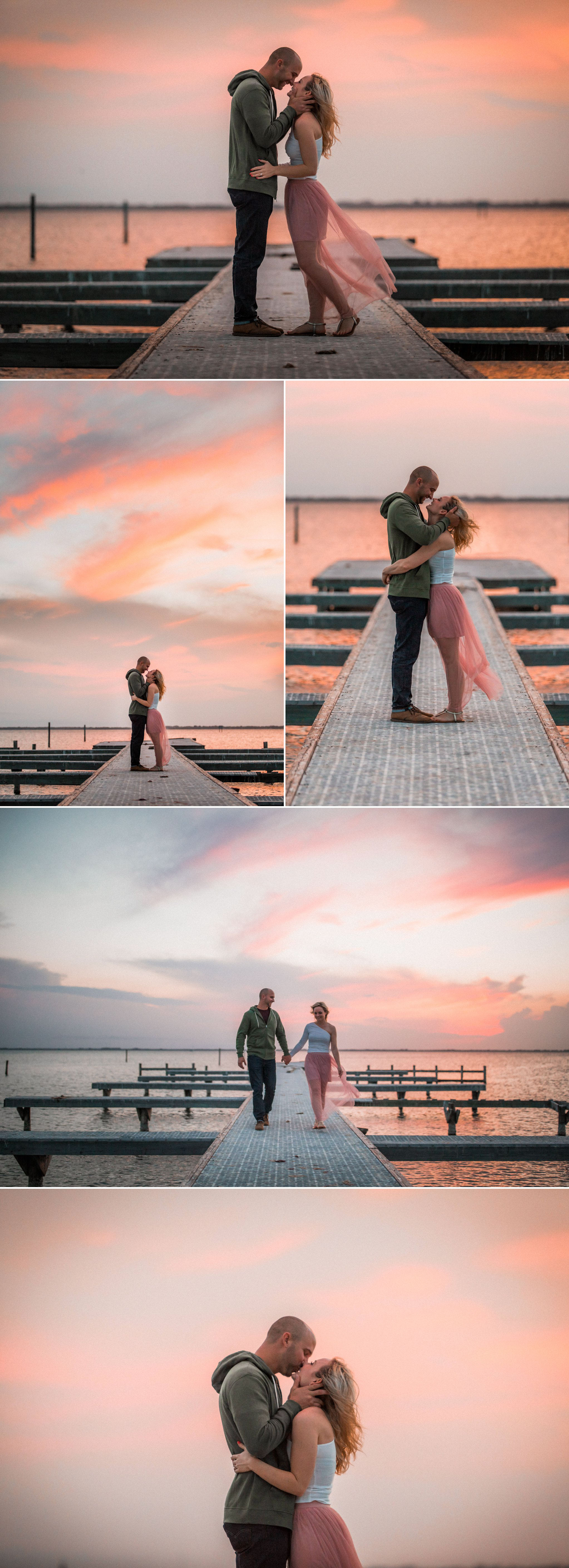 Tommy + Courtney's Cocoa Beach engagement || Casual boho surf style engagement outfit inspiration - she wore a white off the shoulder blouse, pink tulle gown and sandals; he wore a green hoody dark jeans and brown leather shoes. || Engagement photography by Shaina DeCiryan Lifestyle Wedding Photography || Book your 2017/2018 Wedding at: ShainaDeCiryan.com @shainadeciryan