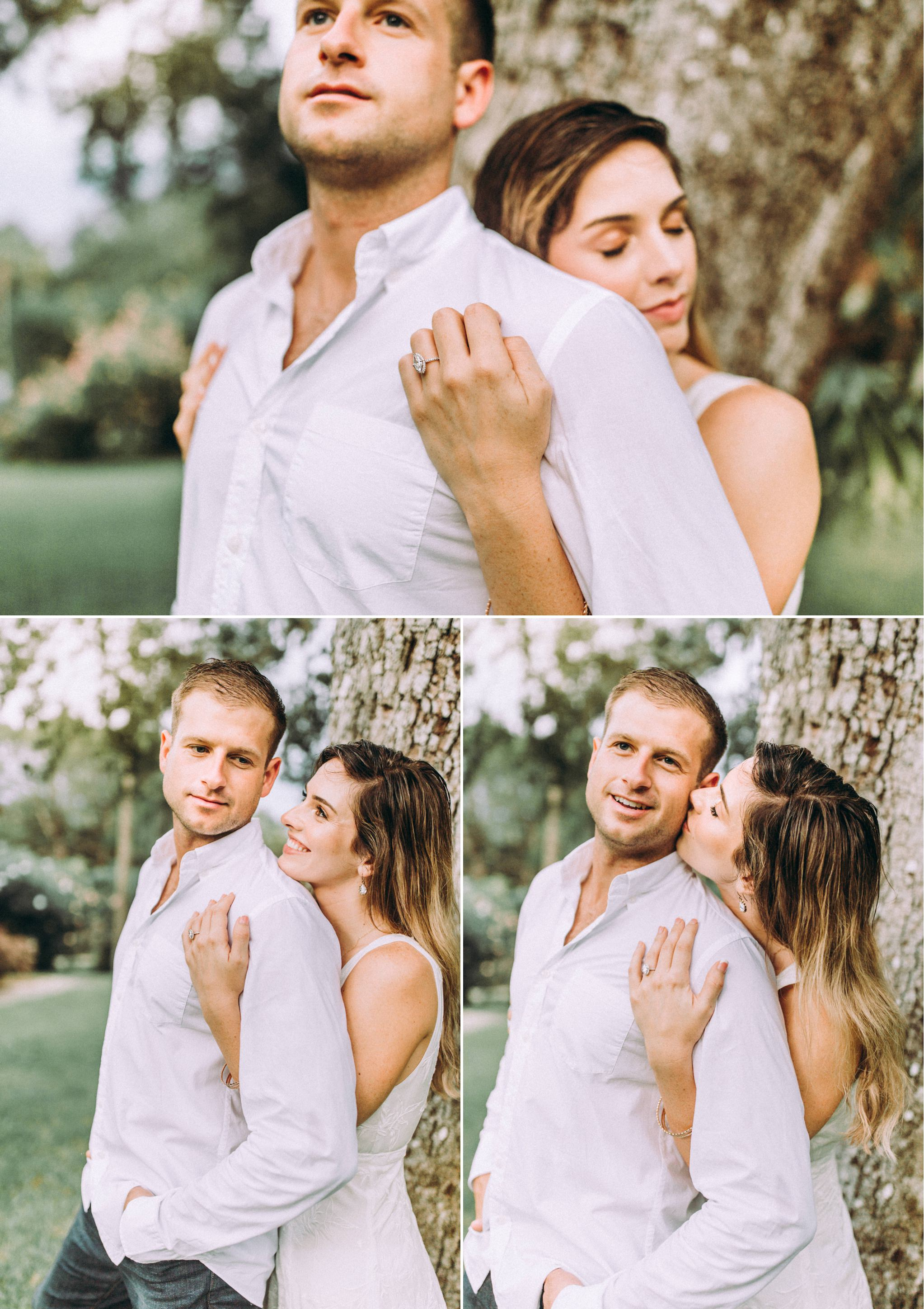 Marquis cut diamond engagement ring and neutral toned outfits at the Washington Oaks Garden State Park.