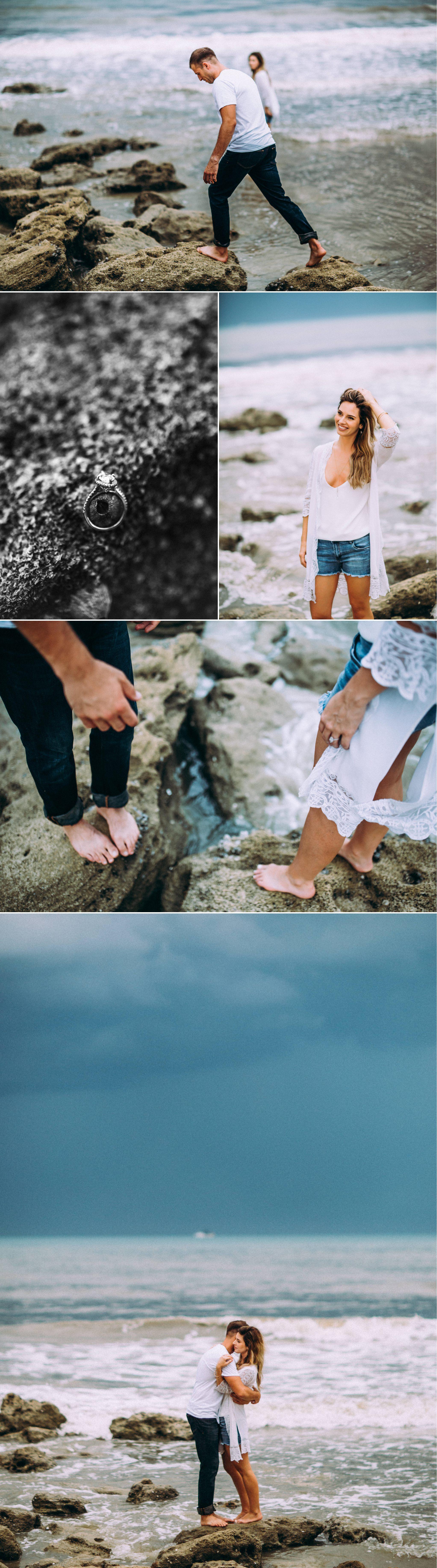 Dramatic storm skies beach boho styled engagement adventure