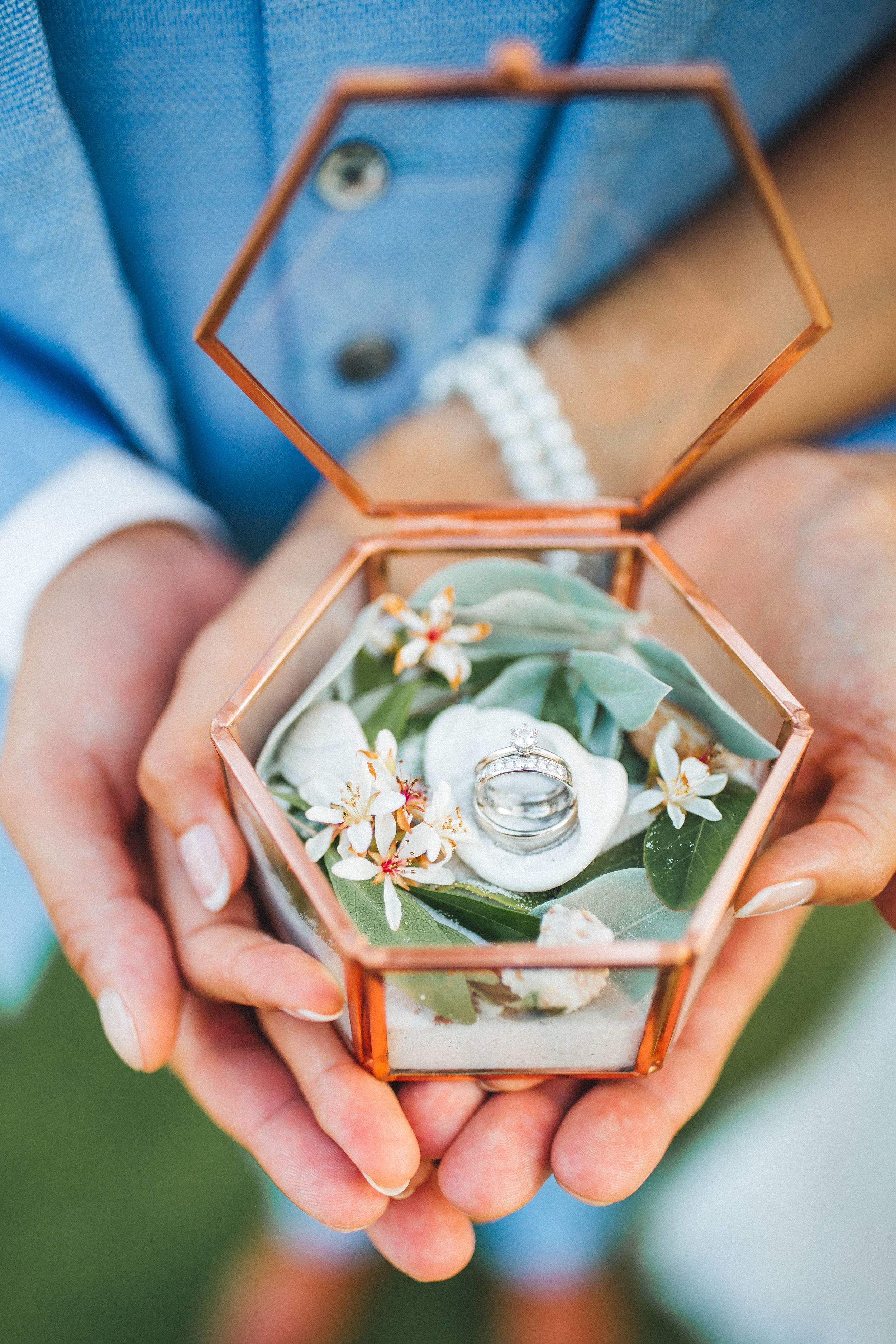 Zohra filled her  hexagon copper ring box  with sand she brought from their favorite Sarasota beach, and sand, seashells and flowers she gathered at Captiva Island.