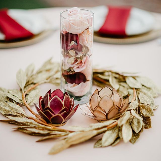Lotus love.  Alexis and Michael's DIY table centerpieces of gold floral wreath, and capiz shell lotus candle holders turned out so beautifully for their @casafelizvenue wedding. . . . . #weddingreceptiondecor #casafelizwedding #casafelizvenue #WinterParkwedding #winterparkweddingvenues #intimatewedding #burgundywedding #tablescapes