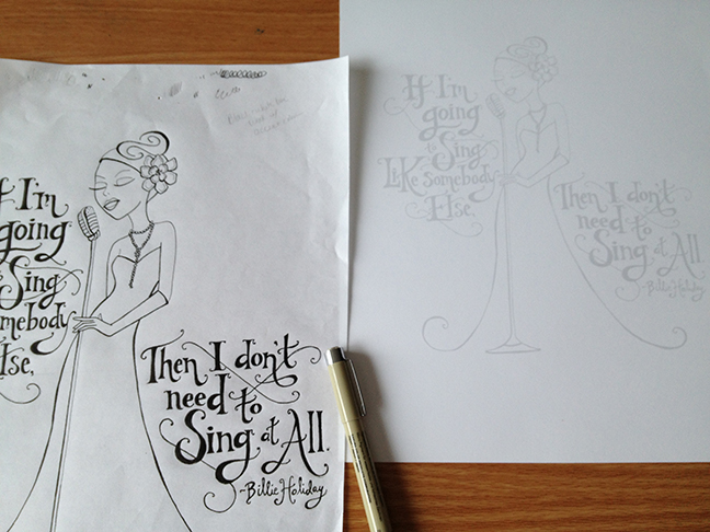 Original drawing and inkjet transfer to toothed paper