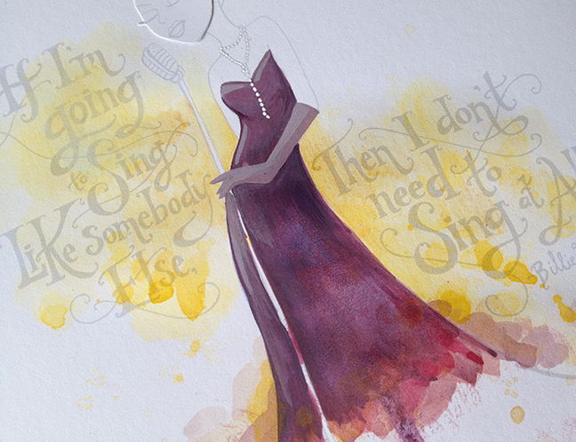 Blocking in color with watercolor & goauche