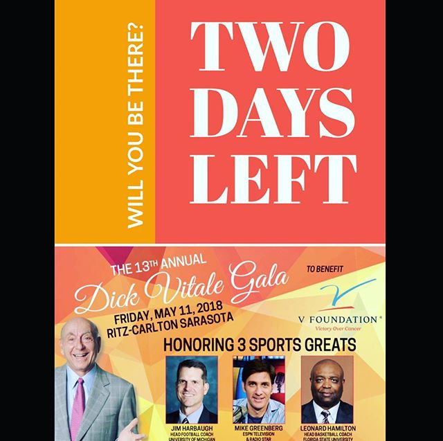 TWO MORE DAYS! This year's honorees for the #DVG2018 are @umichfootball's #JimHarbaugh, @espn's @espngreeny, and @fsubasketball's #LeonardHamilton 👏🏼👏🏼👏🏼 these honorees carry out the values that are at the core of the V Foundation for Cancer Research. The Dick Vitale Gala will help raise money for pediatric cancer research to benefit the V Foundation. Hosted by HOF ESPN Basketball Analyst @dickiev_espn who works at no end to help these kids! Will you be there?