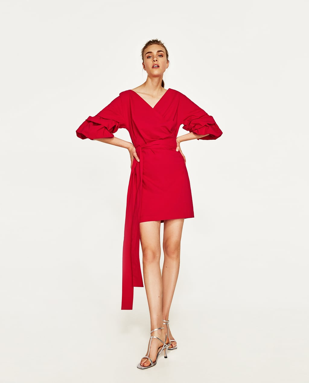 Zara Mini Dress with Ruffled Sleeves