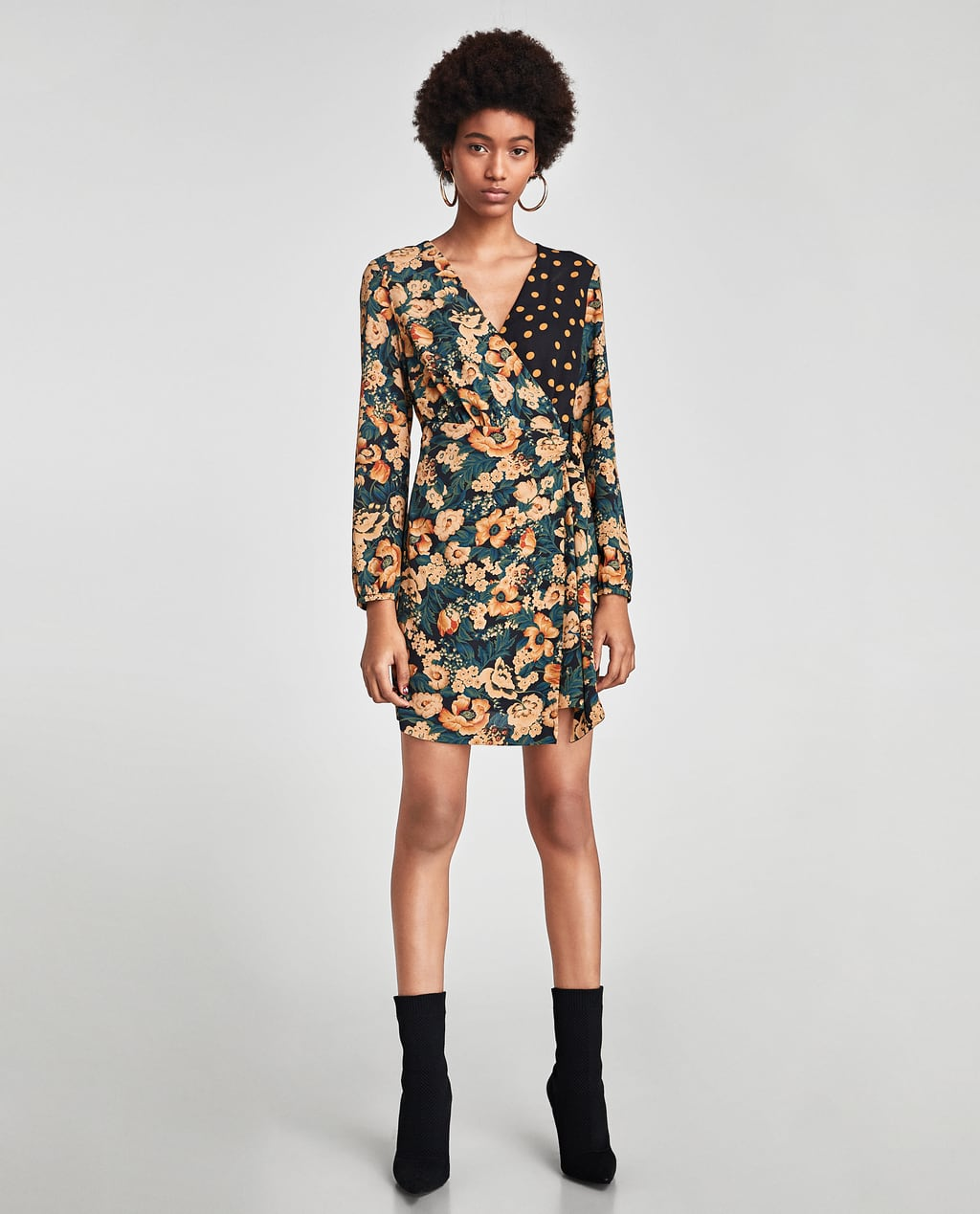 Zara Floral and Polka Dot Print Dress