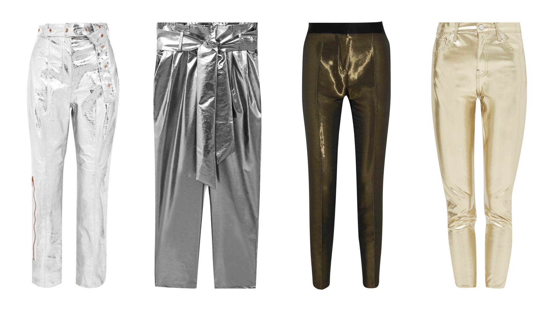 Streetstyle images via Pinterest & product from left to right:  Proenza Schouler metallic leather straight leg trousers  /    Mango high waisted metallic trousers  /  Pallas metallic crepe tuxedo trousers  /  Topshop gold vinyl jamie jeans