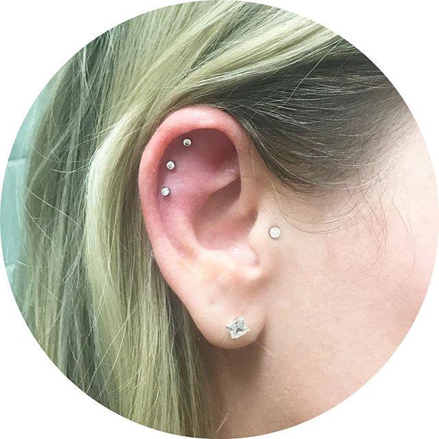 Healing triple scapha from a few weeks back #piercing #scapha #triplepiercing #earpiercing #frontiertattooparlour