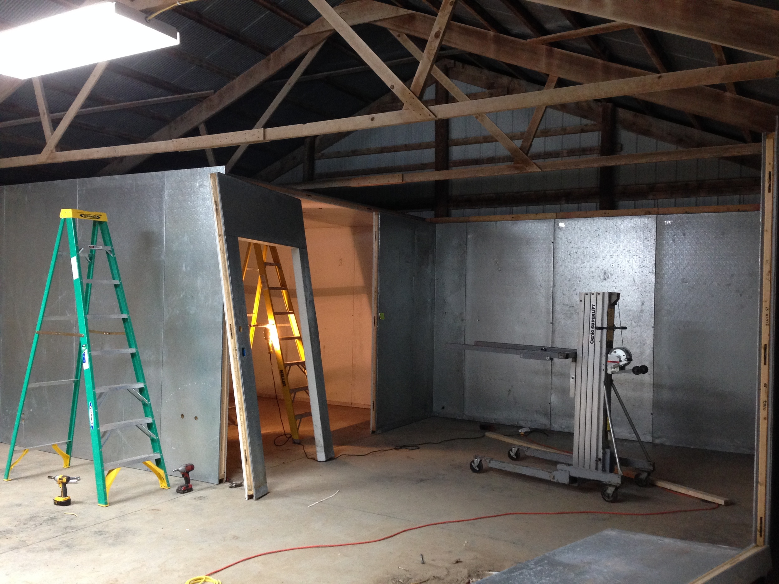 The cooler has two rooms, and we'll use one for crops that are best stored cold (just above 32 degrees) and the other for crops that like it more moderate (45-55 degrees).