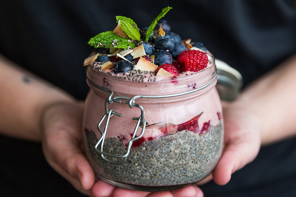 Chia, acai and strawberry smoothie jar