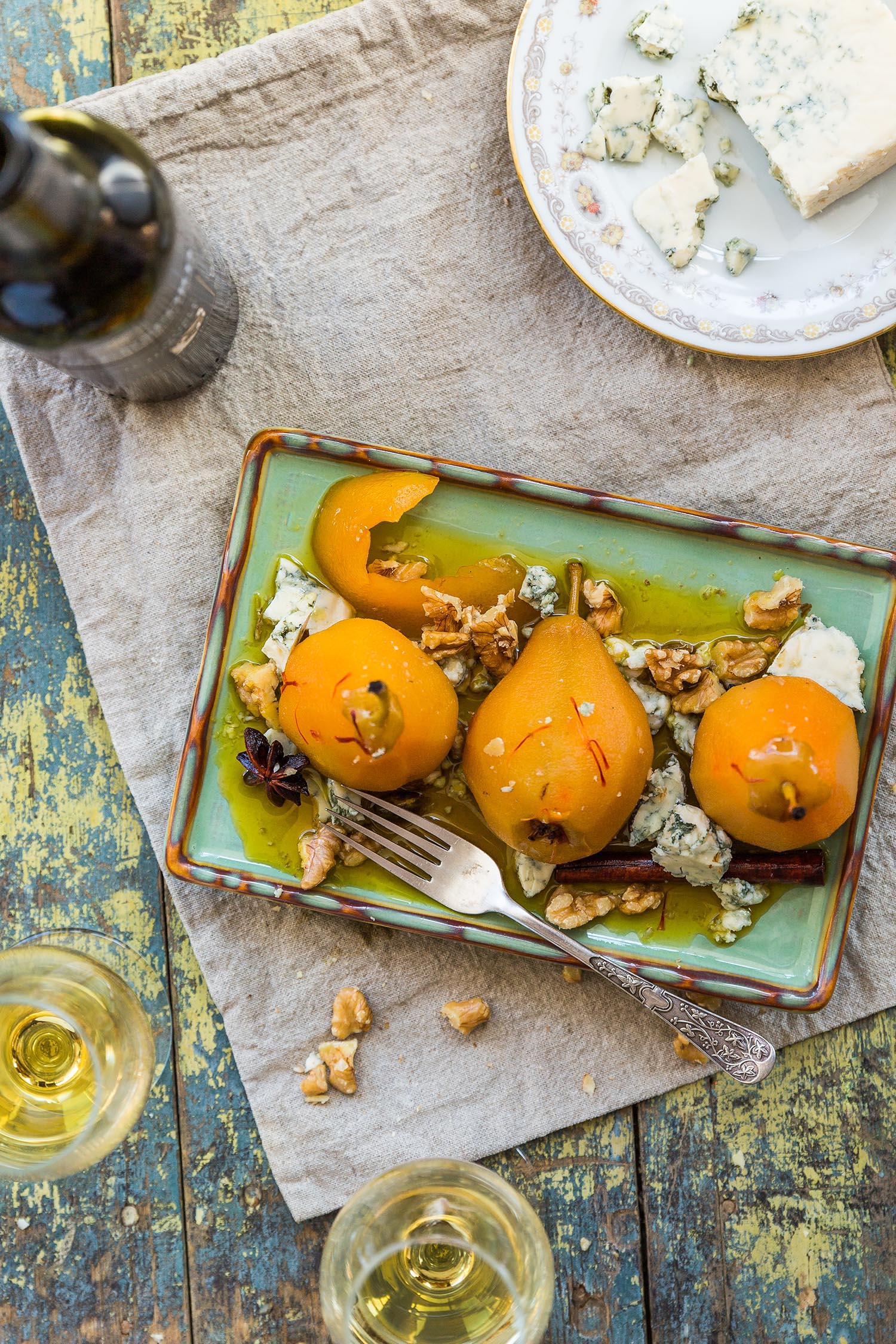 Saffron poached pears with Lourensford noble late harvest 2014