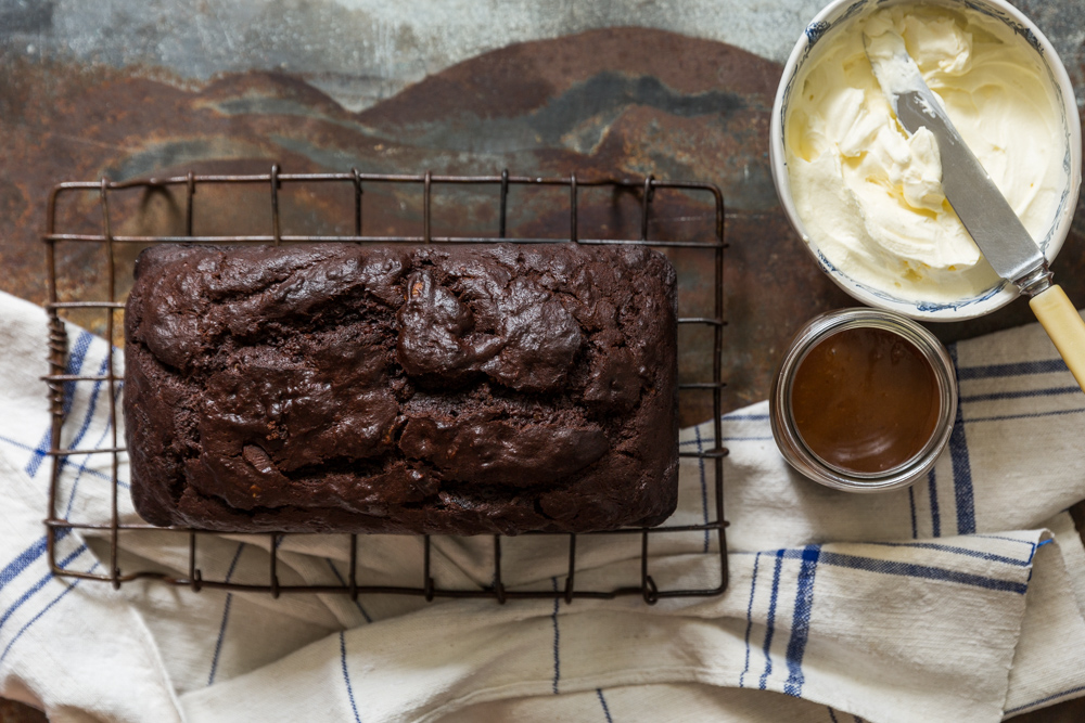 Chocolate banana bread with mascarpone frosting and caramel drip