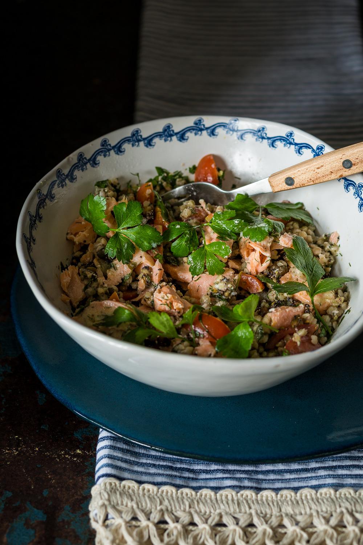 Salmon Buckwheat with Granola Crunch