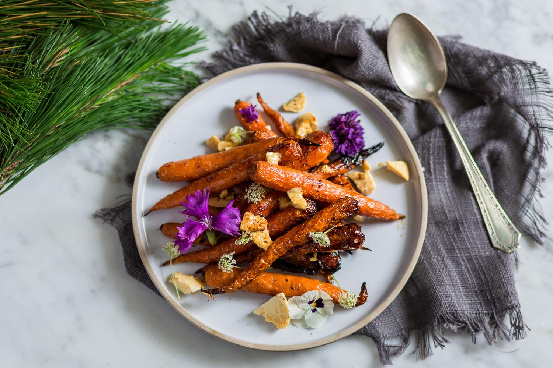 Maple glazed carrots with honey comb