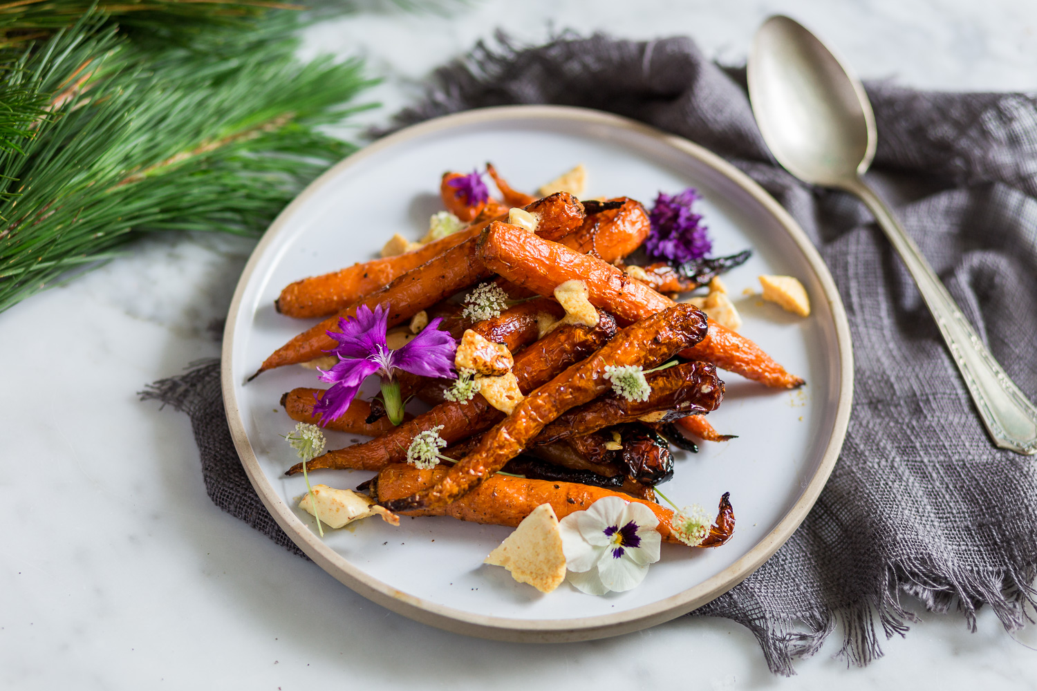 Maple glazed carrots with honey comb
