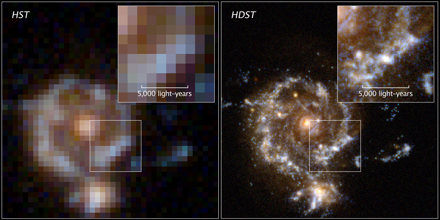 A simulated spiral galaxy as viewed by  Hubble , and the proposed  High Definition Space Telescope (HDST)  at a lookback time of approximately 10 billion years (z = 2) The renderings show a one-hour observation for each space observatory. Hubble detects the bulge and disk, but only the high image quality of  HDST  resolves the galaxy's star-forming regions and its dwarf satellite. The zoom shows the inner disk region, where only  HDST  can resolve the star-forming regions and separate them from the redder, more distributed old stellar population.   Image credit: D. Ceverino, C. Moody, G. Snyder, and Z. Levay   (STScI)