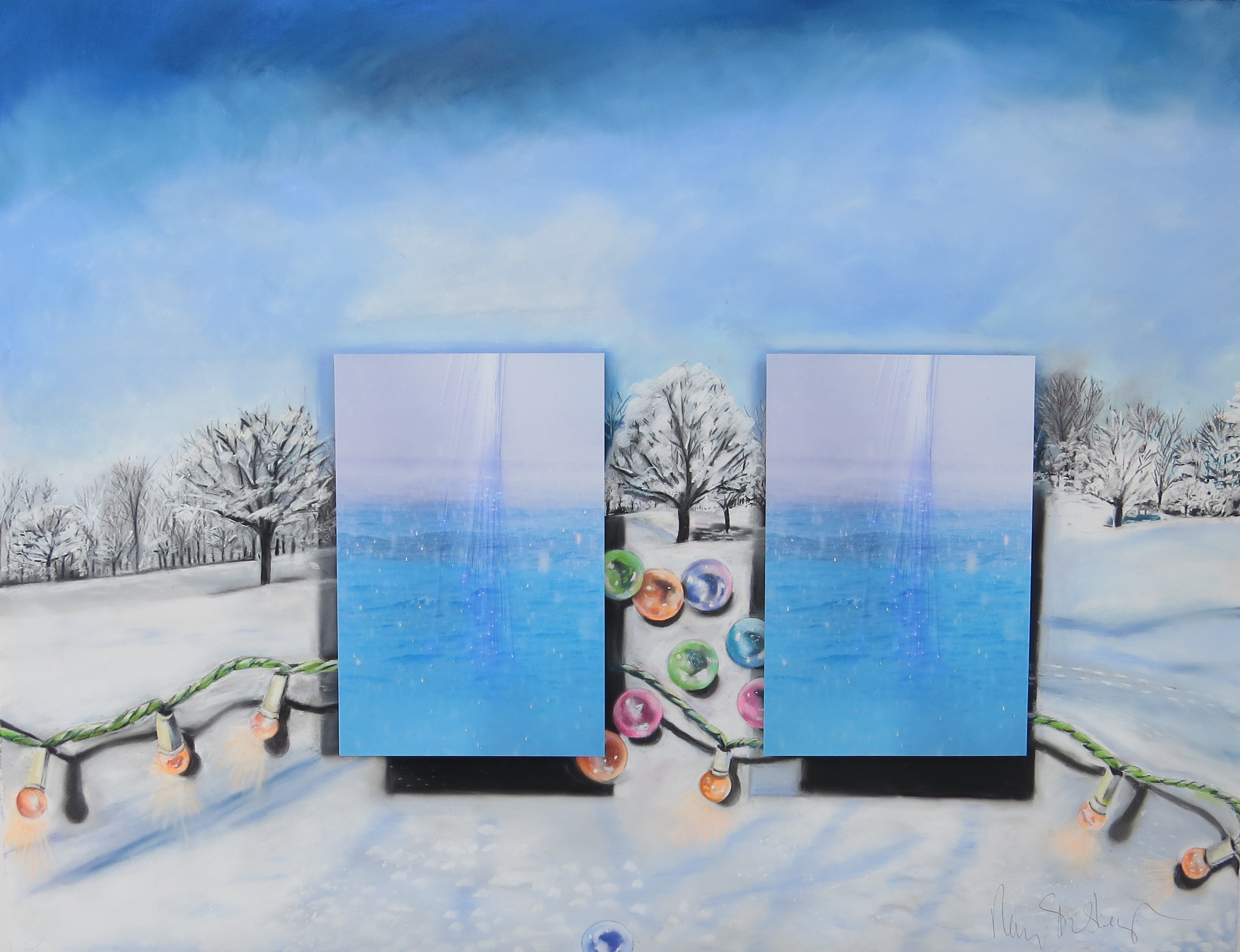 The Light and Sparkle of Winter  37 x 50, pastel on paper, photographs
