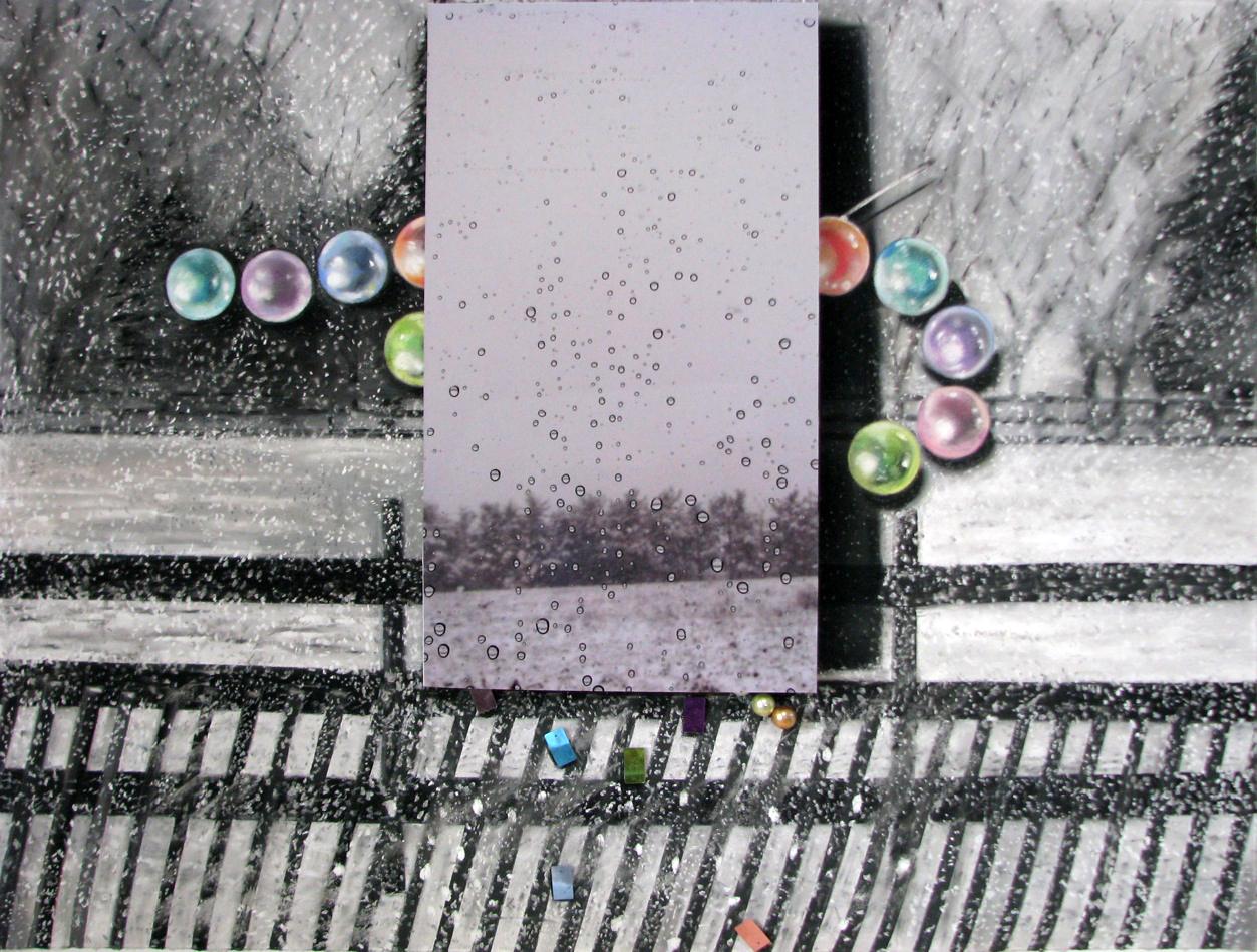 Drops, Flurries, Paillettes  24 x 30 , pastel on paper, photograph, paillettes, pearl