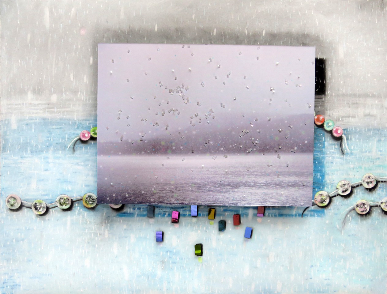 Sparkle of Precipitation  31 x 34, pastel on paper, photograph, palettes, beads SOLD