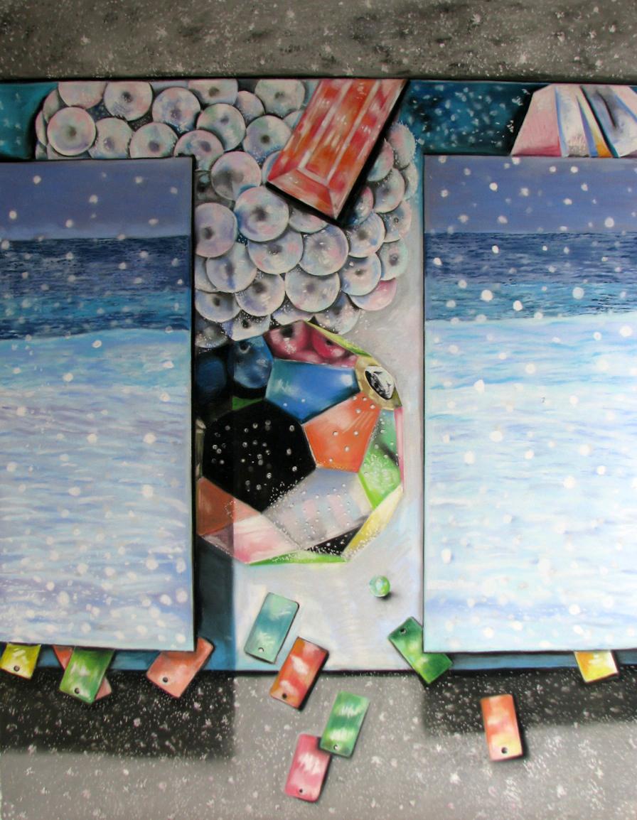 """Paillettes, Sparkle, Splash  42"""" x 33"""", pastel on paper"""