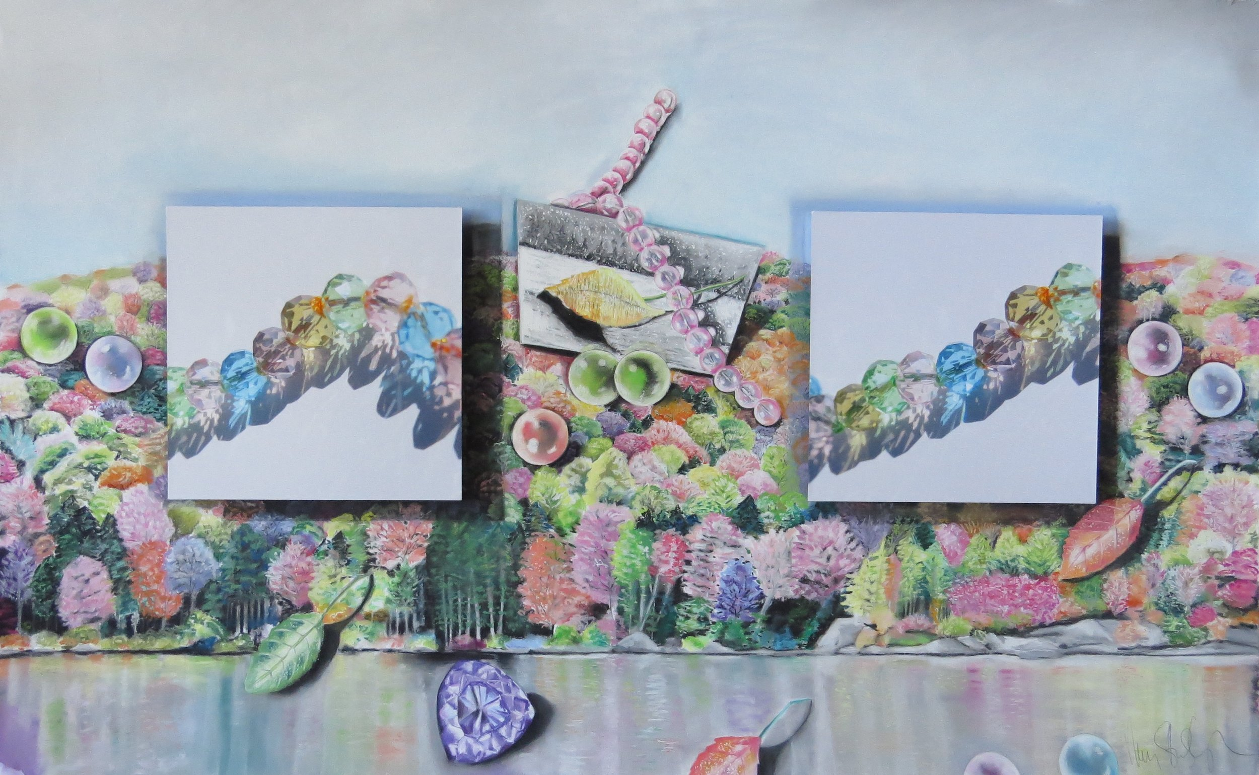 The Path of Fall Sparkle  33 x 50, pastel on paper, mounted photographs