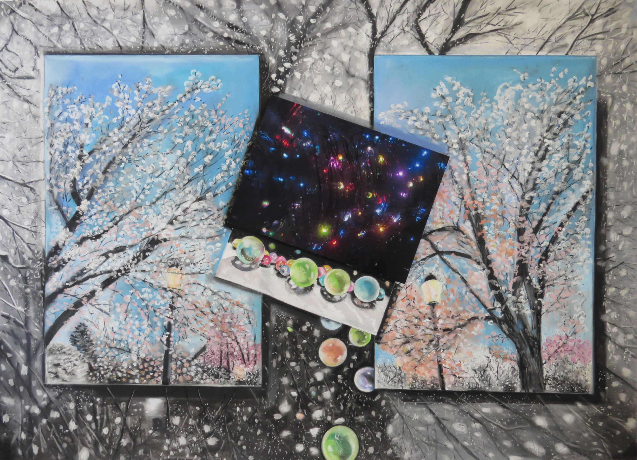 Twinkle, Flurry and Glow   38 x 28, pastel on paper, mounted photograph