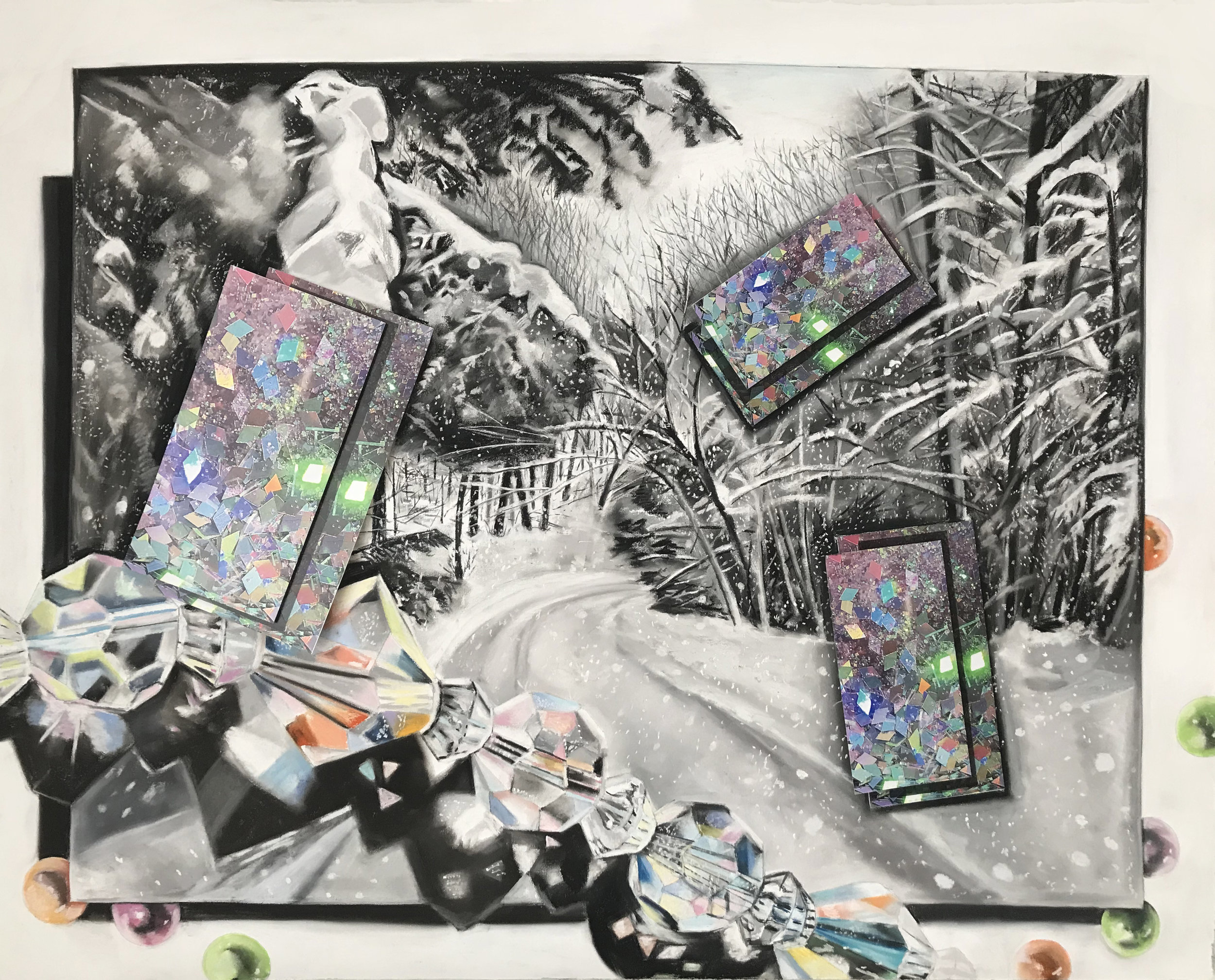 The Color of Snow   38 x 41, pastel on paper, mounted photographs