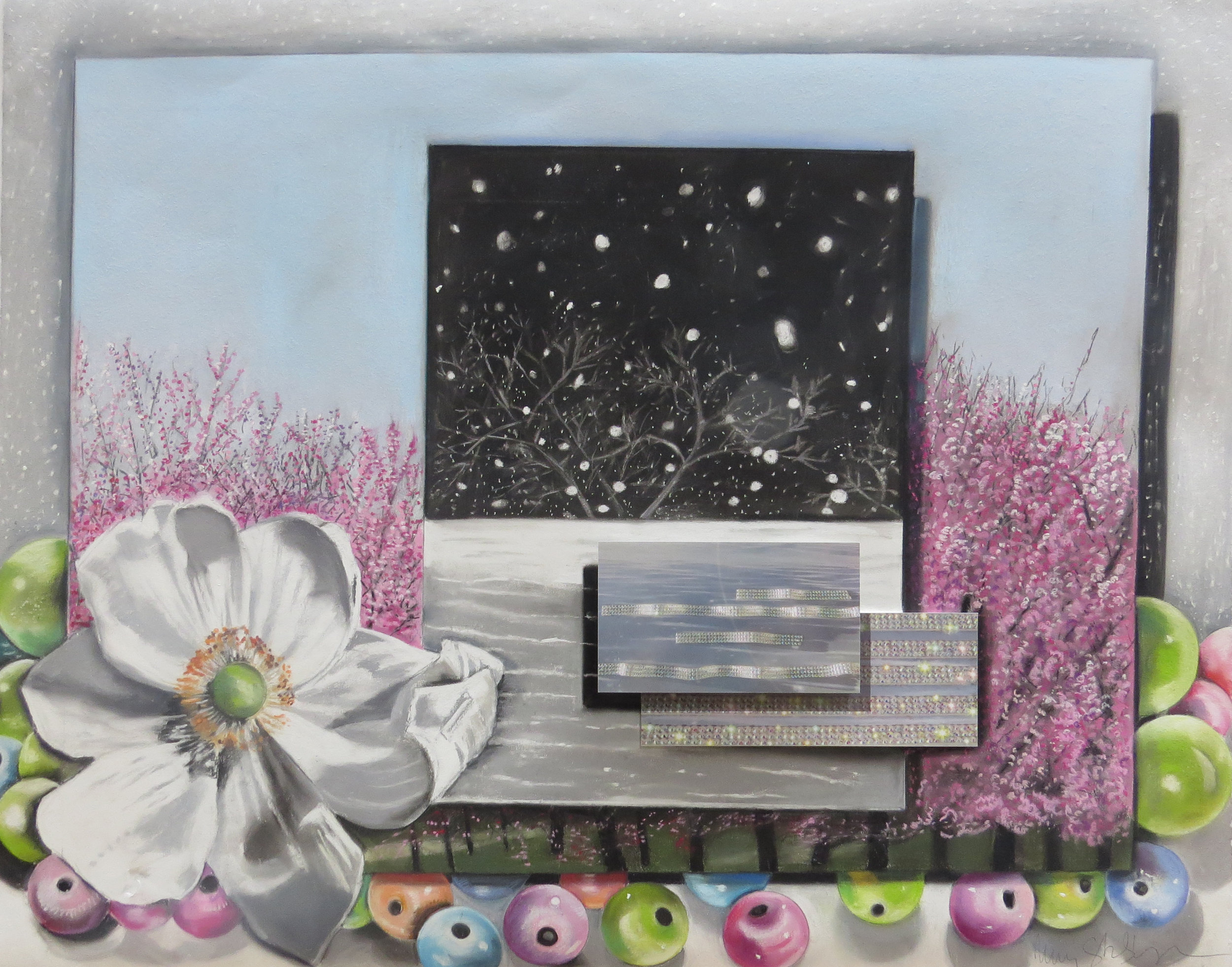 The Sparkling Waves and Blossoming Snow   28 x 35, pastel on paper, mounted photographs