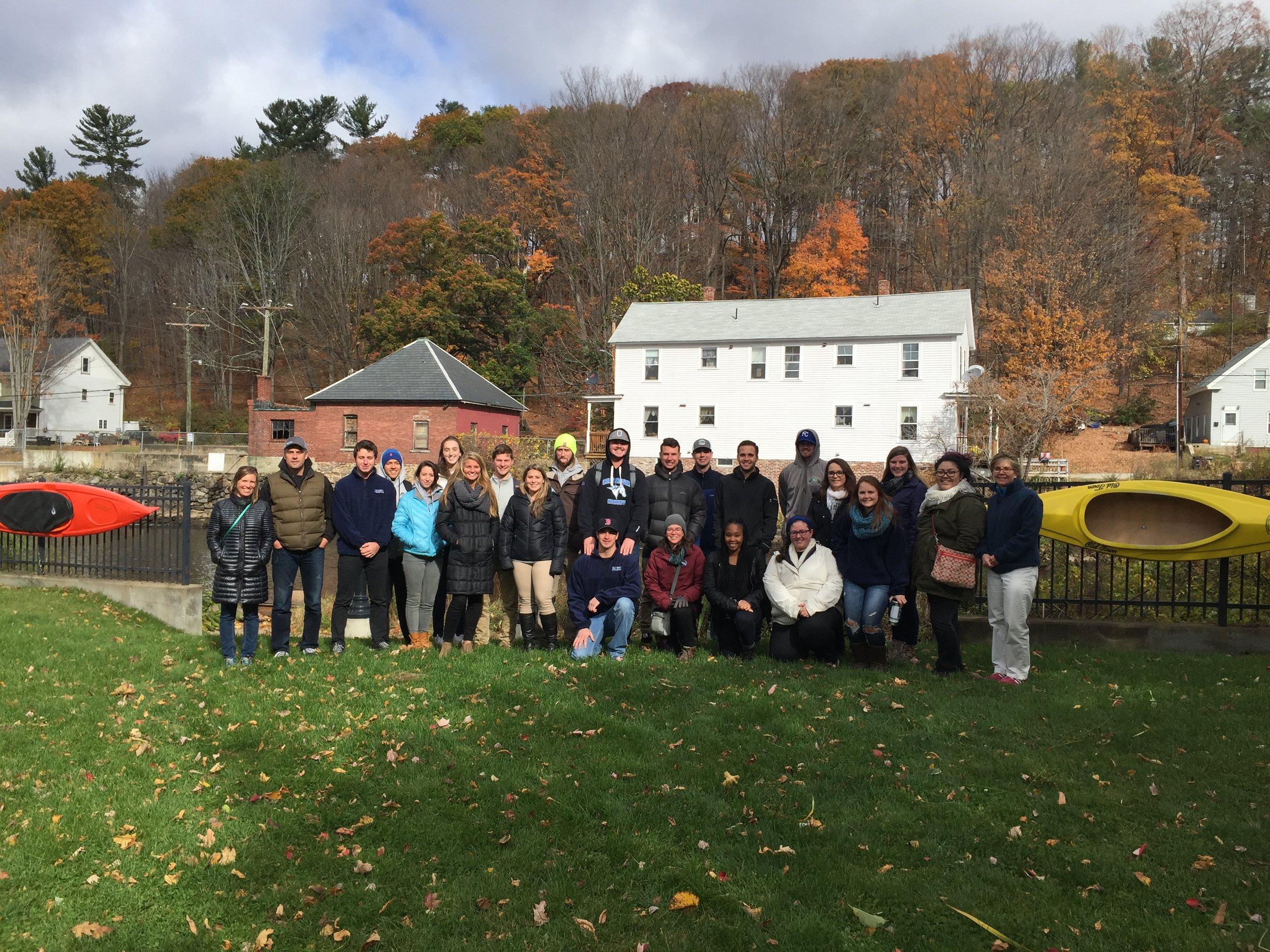 Students from a sport management class collaborated with students from a graphic design class to develop a marketing plan and identity system for the proposed Franklin Falls Whitewater and Mountain Bike Parks, working closely with Marty Parichand of Outdoor New England (ONE).