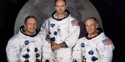 Armstrong, Collins, and Aldrin (L-R)