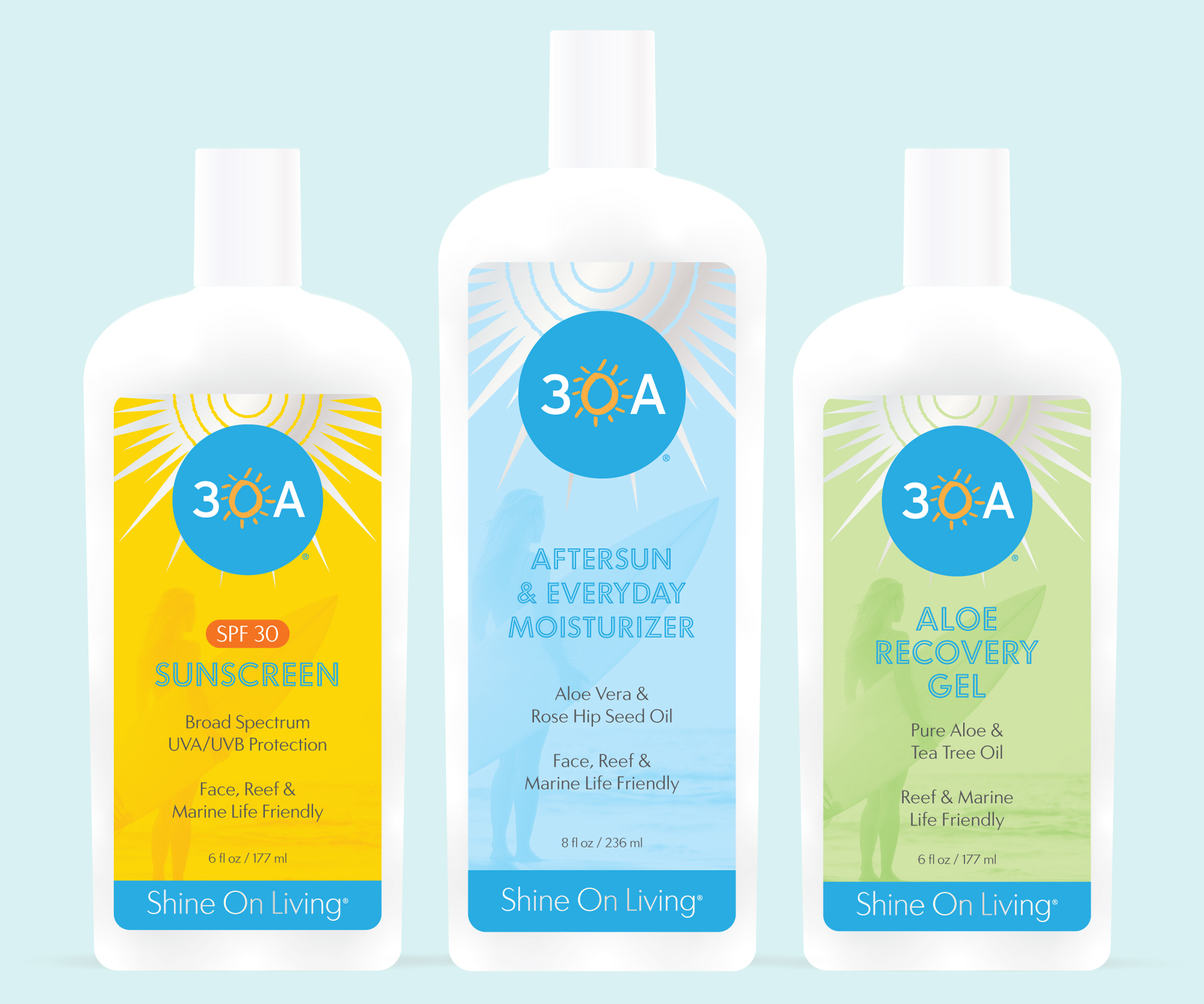 30A Products by Shine On Living - SPF 30 Sunscreen, Aftersun & Everyday Moisturizer, Aloe Recovery Gel
