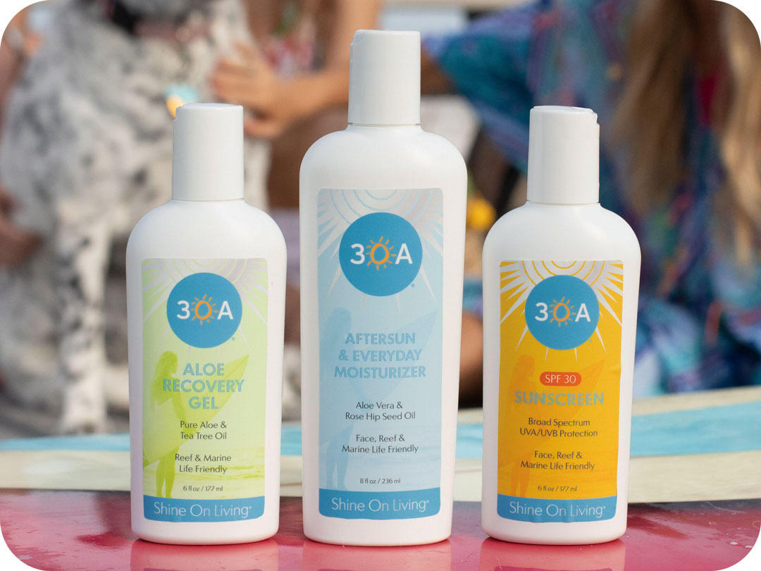 Now Available! 30A and Shine On Living Marine Eco-Friendly Sun Care Products - Local brands partner to help protect people and marine eco-systems. Interested in wholesale? Contact us to discuss.