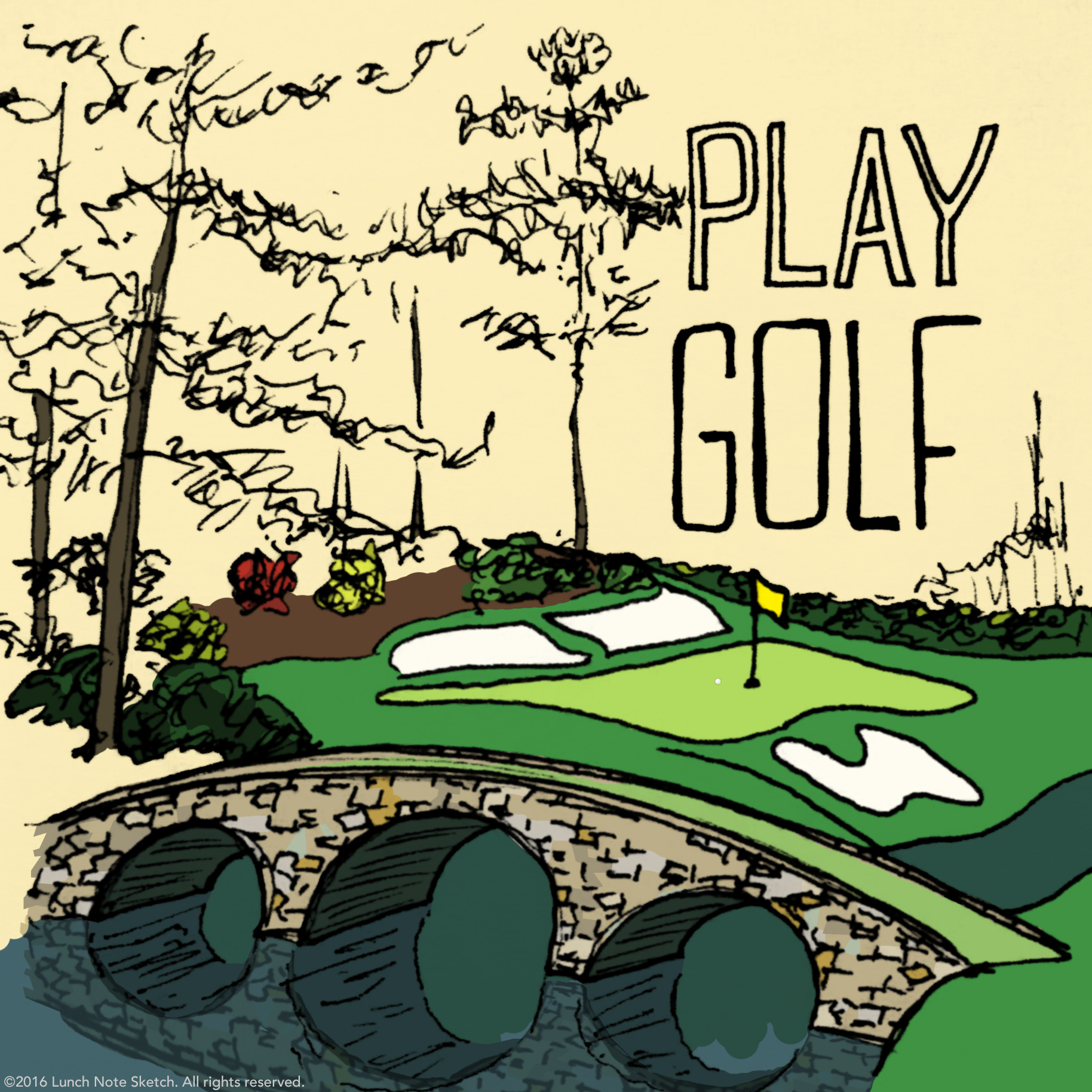 """""""Play golf"""" posted on Masters Sunday was one of the most popular sketches."""