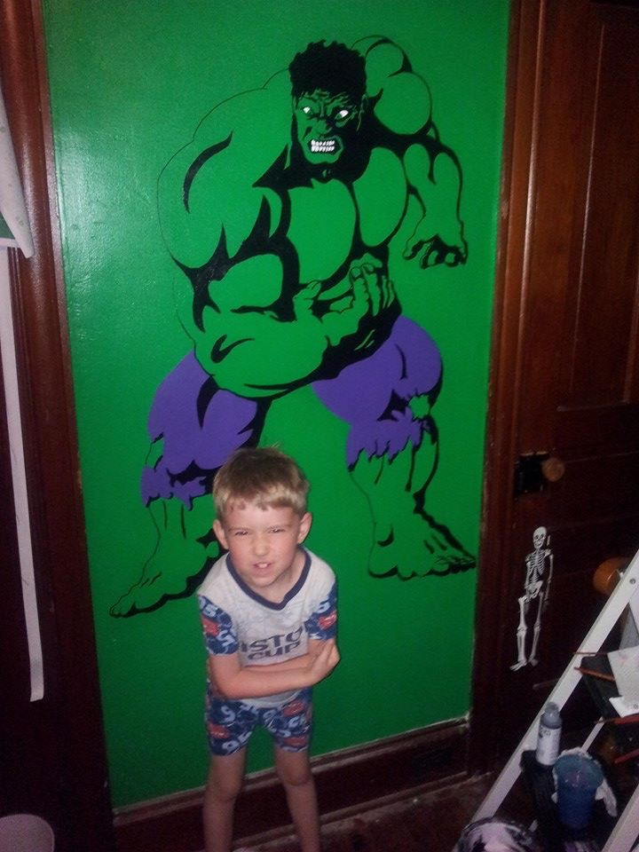 Hulk mural. Son for scale.
