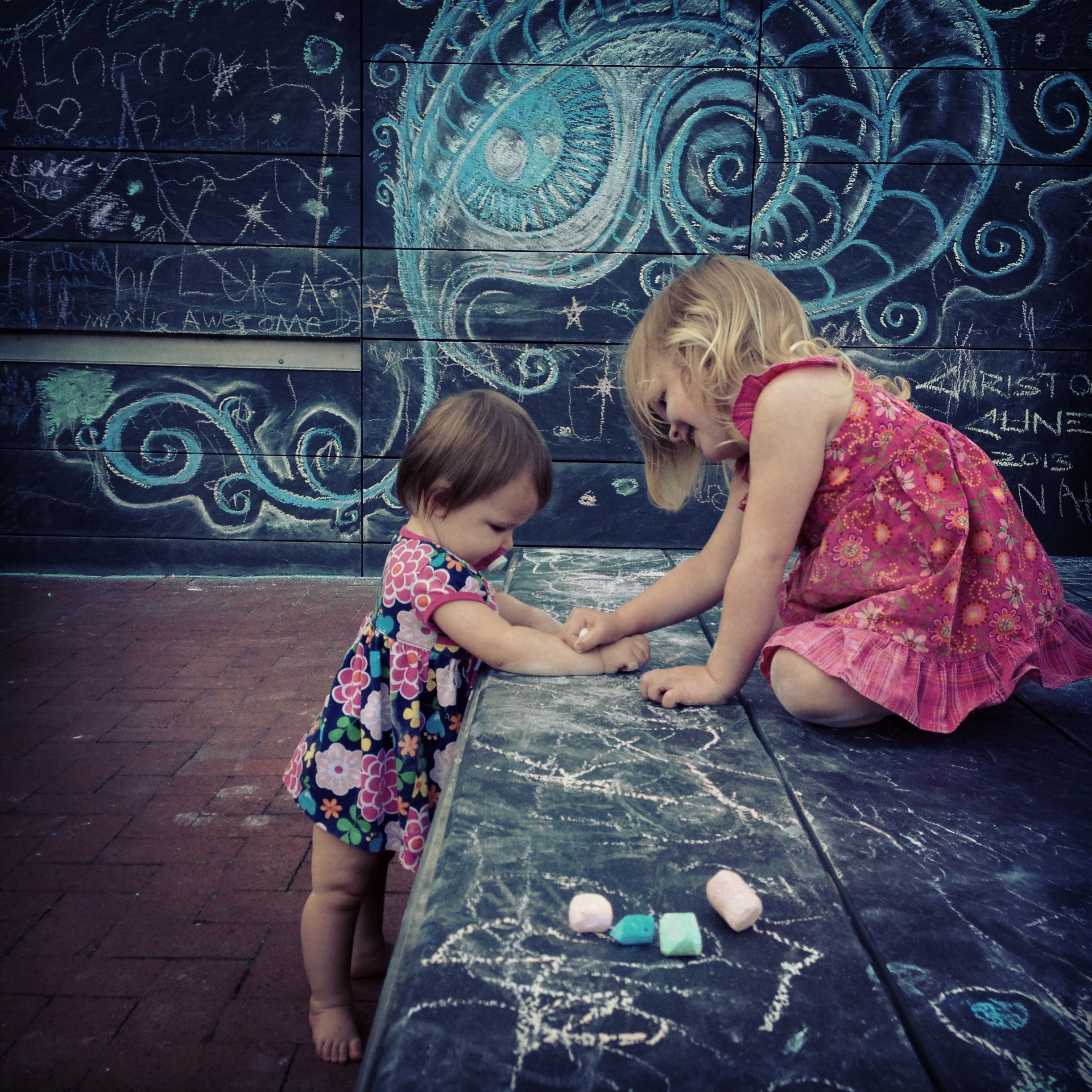 The chalk wall on the Downtown Mall in Charlottesville. This photo was taken a few years ago, but it is just blocks from where tragedy struck.