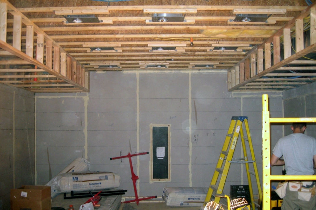 Early in the construction process. Before the drywall was applied, every wall surface received a floating wall treatment