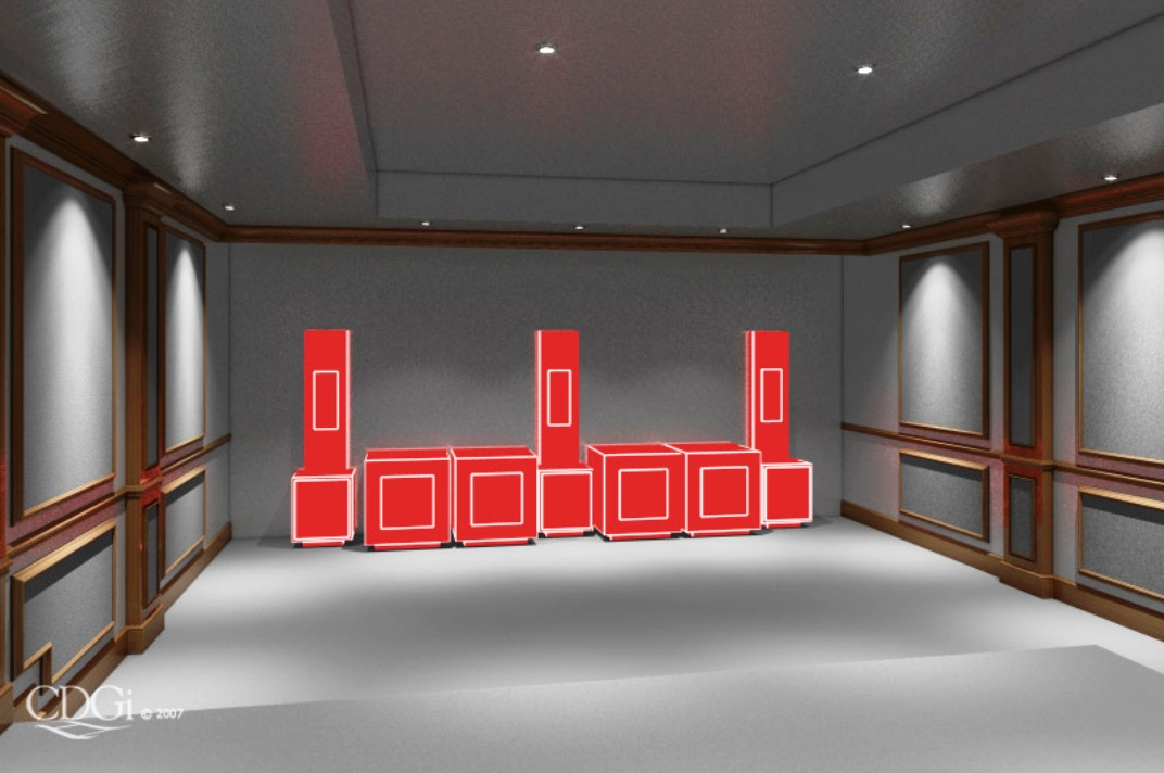 This is a rendered image of the theater design in it's conception. Every variable is considered, from speaker and listener placement to overall room dimensions