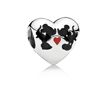 Disney's Iconic Romance: The sweet, playful, love filled relationship of Minnie and Mickey is one of the most enduring romances of all time and is deeply inspirational to people all over the world. Pandora has captured the couple together with their silhouettes, love, and hearts.