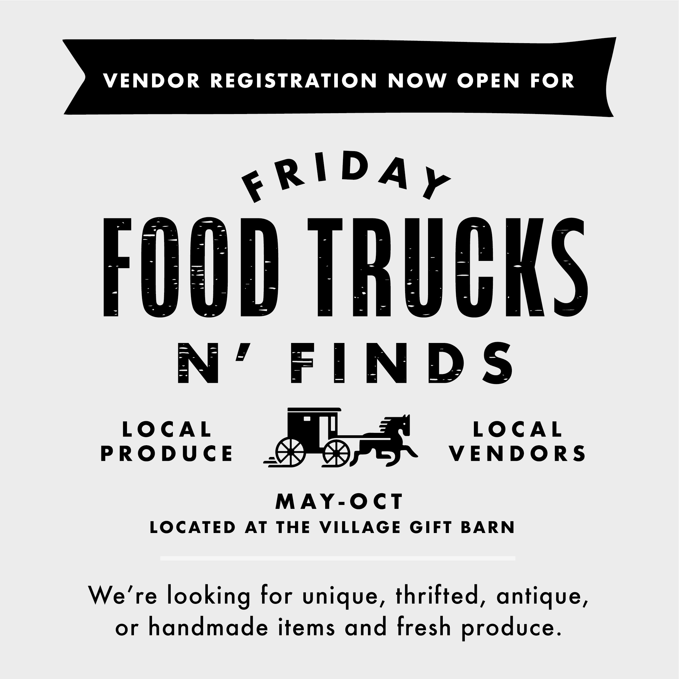 Food Truck Dates- (weather permitting) 11am-7pm:  -May 3 & 17  -June7 & 21  -July 5 & 19  -August 2 & 16  -September 20  -October 4 &18  Vendor Fair Dates - (weather permitting) - Time 11am-??  -June 21  -July 19  -August 16  -September 20  -October 18    **To apply for Food Truck space or Vendor space please email Brittany@oldeberlinvillage.com