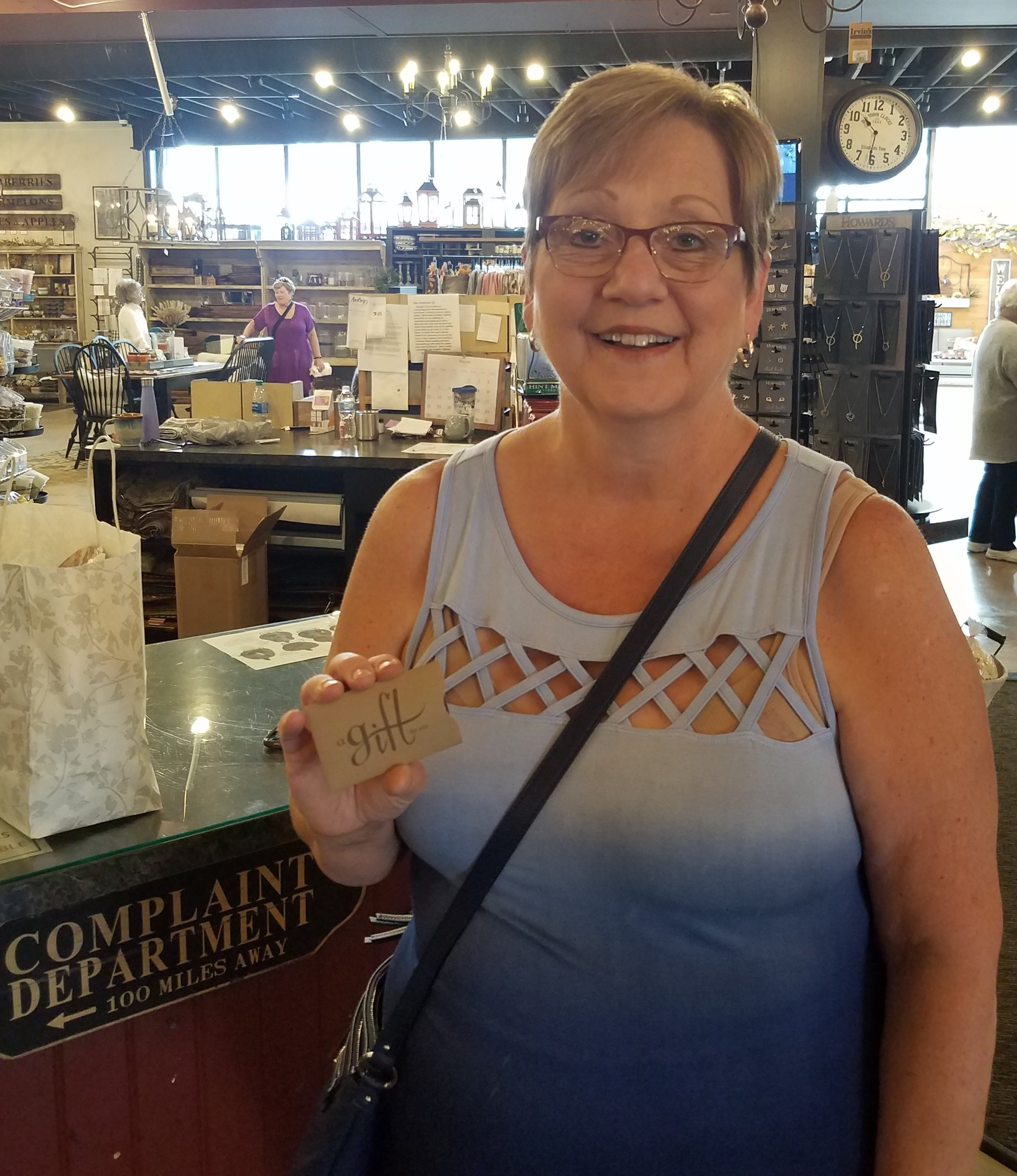 "Congratulations! - Donna Hoevet of Bourbonnais, IL, is our $500 shopping spree winner! ""I can't believe it,"