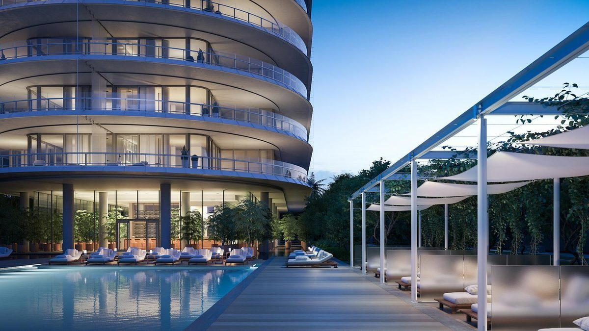 Rendering of Eighty Seven Park, an 18-story,70-unit luxury condo under construction with one to five-bedroom units,ranging in price from $1.6 to $15.2 million; design by Renzo Piano (Rendering: Courtesy of Terra Group)