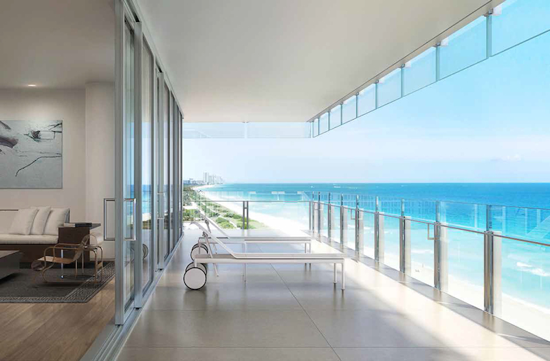 Rendering of an outdoor terrace at the Surf Club Four Seasons Residences (Rendering: Courtesy of Fort Capital)