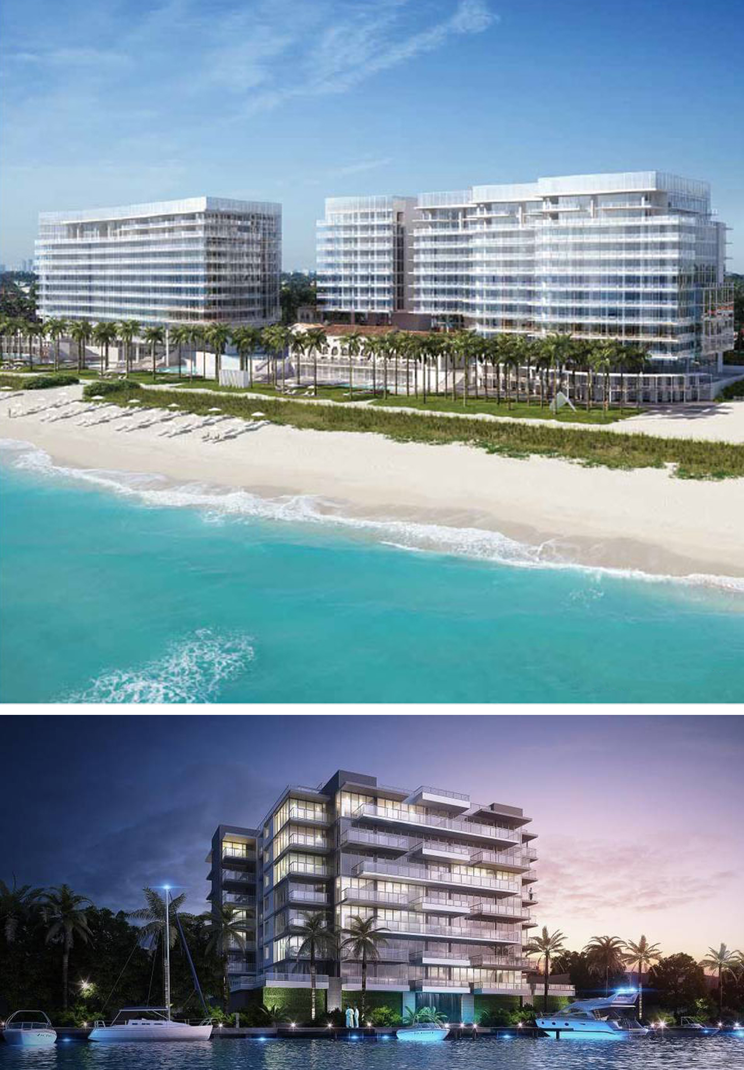 (TOP) The Surf Club Four Seasons Residences include 150 luxury condo residences with one-to-six bedroom units, plus 13 penthouses, ranging in price from $3.8 million to $40 million; design by Richard Meier (Rendering: Courtesy of Fort Capital)    (BOTTOM) Bijou Bay Harbor is a nine-story,41-unit, full-service boutique luxury condo,situated on the Intracoastal Waterway (adjacent to Bal Harbour).(Rendering: Courtesy of U.S.Affiliate of Acierto Inmobiliario-Juan Carlos Gonzalez)