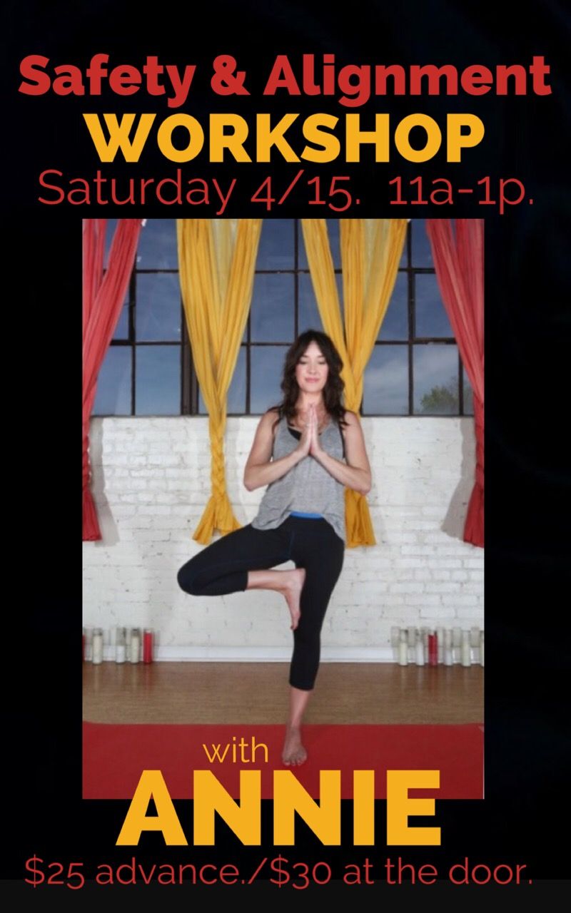 The workshop is geared towards beginners and anyone looking to get back to the basics of yoga. Annie uses her anatomy based Yoga Medicine Training to help practitioners focus on alignment and moving safely through sun salutations and basic postures.