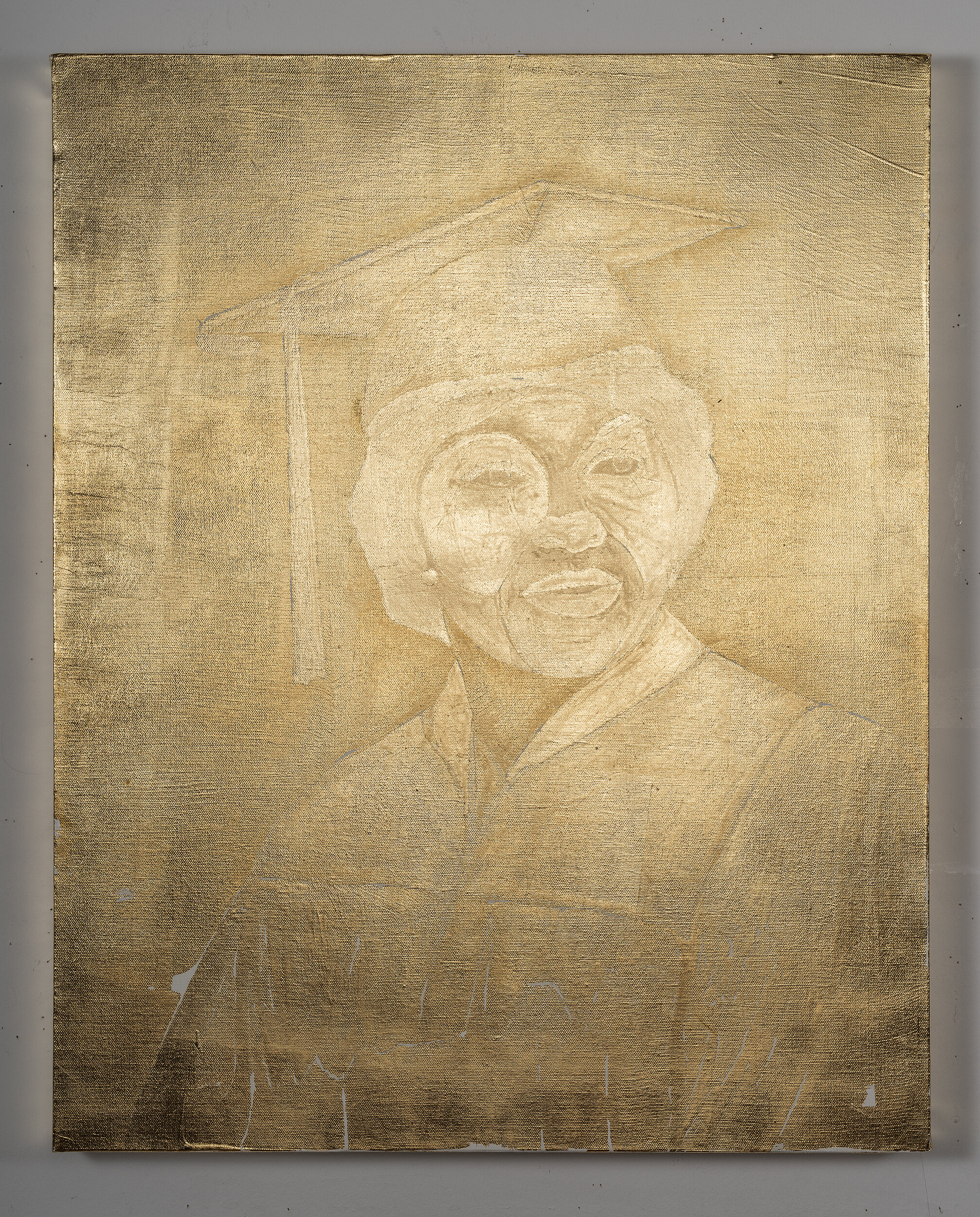 Untitled (Graduate),  2018, 36 x 24 inches, composition gold leaf on canvas