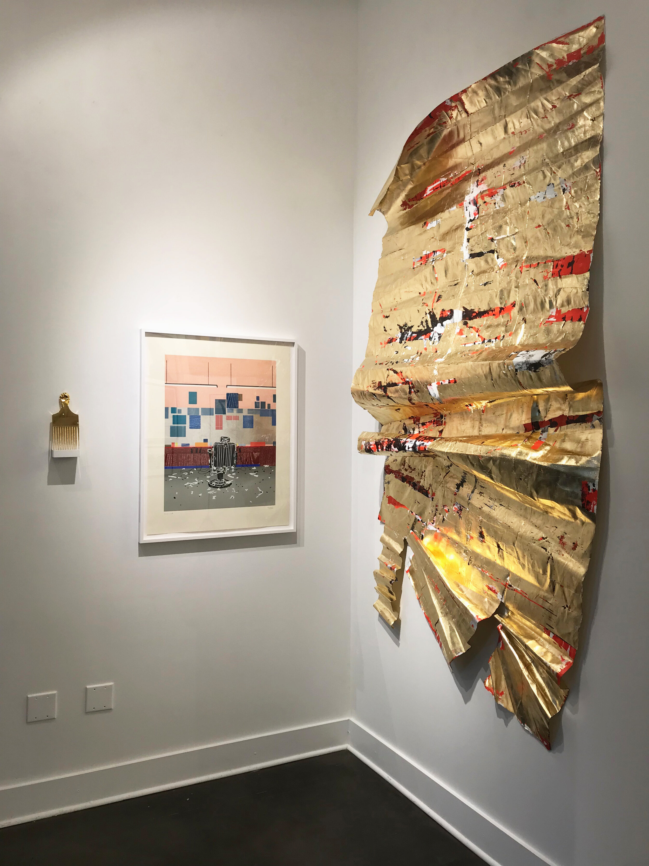 Damaged Emergency Blanket (for O. B.),  Installation View,  BLACK BLOODED,  New Gallery of Modern Art, Charlotte, NC, 2018, 50 x 100 inches, acrylic, composition gold leaf and metallic wax on distressed paper