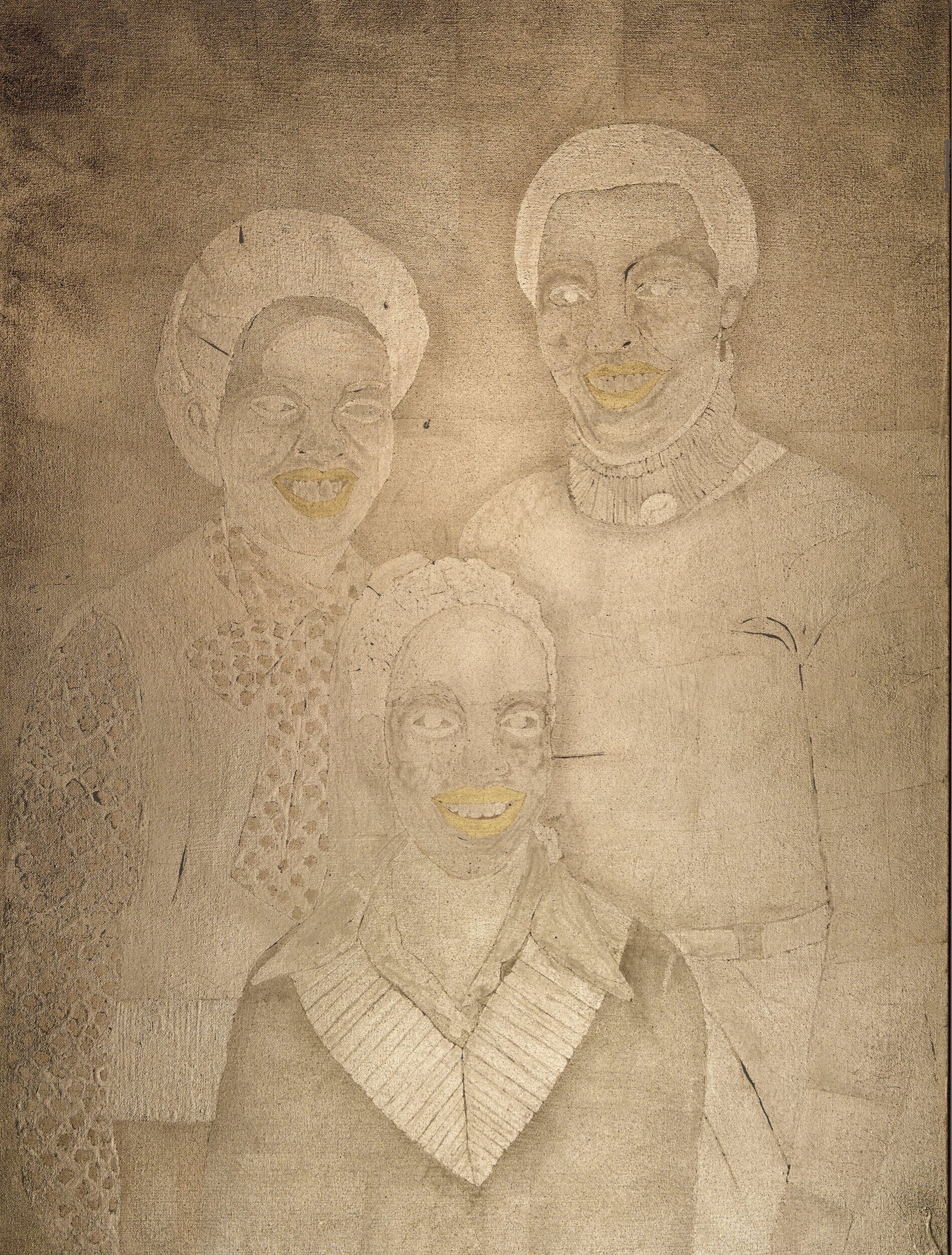 Untitled (Family Portrait),  2018, 40 x 30 inches, 22 karat and composition gold leaf on canvas
